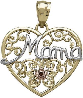 FINE JEWELRY Tesoro 14K Tri-Color Gold Mama Filigree Heart Pendant