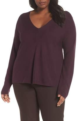Eileen Fisher Boxy Tencel(R) Lyocell & Silk V-Neck Sweater
