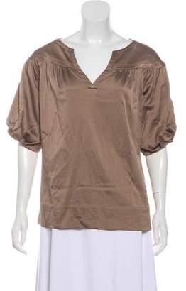 Diane von Furstenberg Textured Short Sleeve Blouse