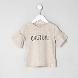 River Island Mini girls cream 'couture' frill T-shirt