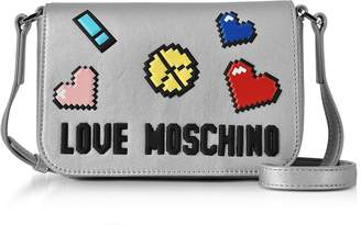 Love Moschino Love Pixel Silver Eco-Leather Crossbody Bag