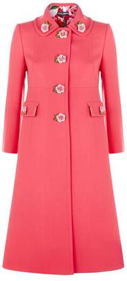 Dolce & Gabbana Rose Detail Wool Coat