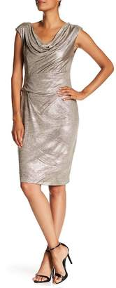 Connected Apparel Metallic Cowl Neck Cap Sleeve Dress