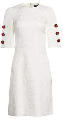 Dolce & Gabbana Dolce& Gabbana Dolce& Gabbana Women's Jacquard Rose Button Dress