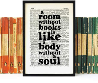 Bookishly Book Lover 'A Room Without Books...' Quote Print