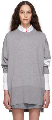 Thom Browne グレー オーバーサイズ 4BAR プルオーバー セーター