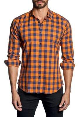 Jared Lang Plaid Woven Button-Down Short