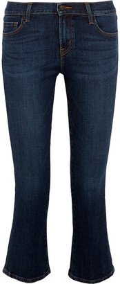 J Brand - Selena Cropped Mid-rise Bootcut Jeans - Mid denim $200 thestylecure.com