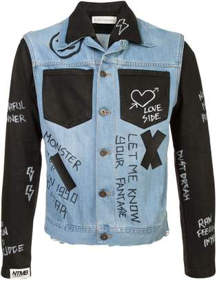 Faith Connexion contrast panel 'Doodle' denim jacket