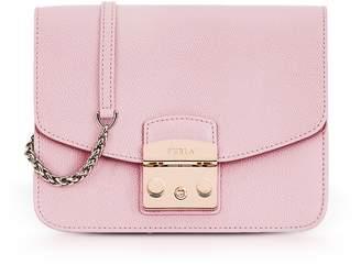 Furla Camelia Pink Lizard Printed Leather Metropolis Small Crossbody Bag