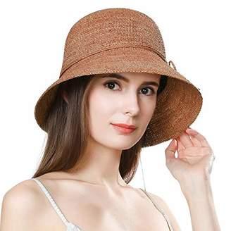 BEIGE Jeff & Aimy Ladies Packable 100% Raffia Straw Sunhat UPF Chin Strap Bowknot Floppy Wide Brim Panama Fedora Summer Beach Sun Hat Size Adjustable Natural 55-58CM