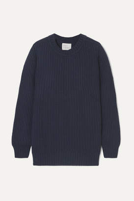 Hillier Bartley Ribbed Cashmere Sweater - Navy