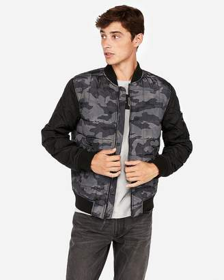 Express Camo Quilted Bomber Jacket