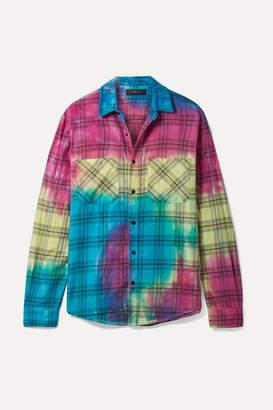Amiri Tie-dyed Plaid Cotton-flannel Shirt - Yellow