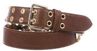 Miu Miu Leather Chain-Link Belt