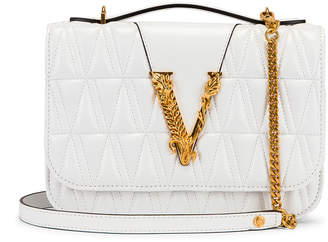 Versace Quilted Leather Tribute Crossbody Bag in White & Gold | FWRD