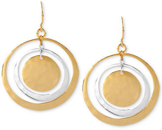 Robert Lee Morris Soho Earrings, Two-Tone Hammered Circle Orbital Earrings