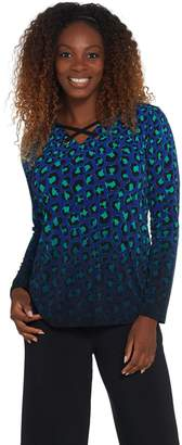 Bob Mackie Bob Mackie's Ombre Animal Print Knit Top