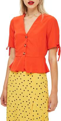 Topshop Bryony Tea Button Front Blouse