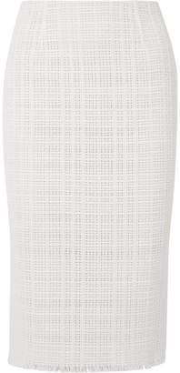 Roland Mouret Ryehill Stretch Crepe-paneled Crochet-knit Cotton Pencil Skirt - White