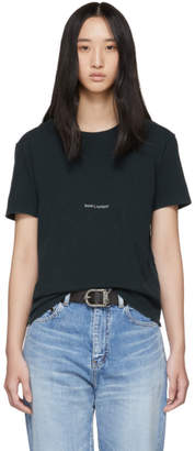 Saint Laurent Green Rive Gauche Logo T-Shirt