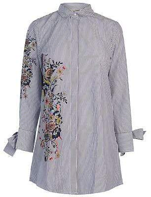 Only Womens Karla Long Shirt Dress Sleeve Stripe Print Floral Striped Fold Over