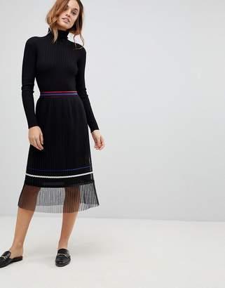 Sisley Pleat Midi Skirt With Sheer Panel