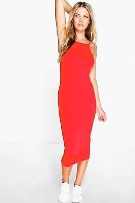 boohoo NEW Womens Basic 90s Neck Midi Dress in Viscose