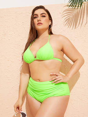 Shein Plus Neon Lime Ruched Bikini Set