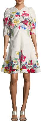 Celine Ruched Bodice Floral A-Line