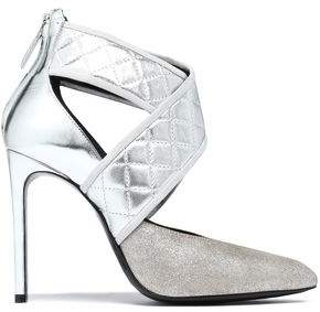 Lanvin Quilted Glittered And Mirrored-Leather Pumps