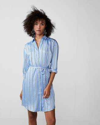 Express Long Sleeve Striped Shirt Dress