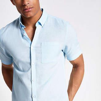 5d07df7ac River Island Light blue linen short sleeve shirt