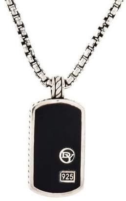 David Yurman Onyx Small Dog Tag Pendant Necklace