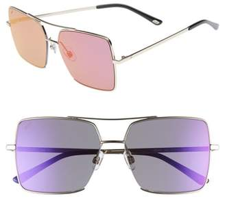 Web 57mm Square Metal Aviator Sunglasses