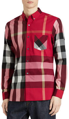 Burberry Thornaby Check Sport Shirt, Red