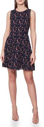 Reiss Louise Mesh Detail Floral Sleeveless Fit & Flare Dress