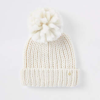 River Island Womens Cream velvet bow beanie hat