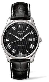 Longines Master Collection Stainless Steel& Alligator Leather Strap Watch