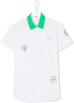 Aston Martin Kids Teen contrast collar printed shirt