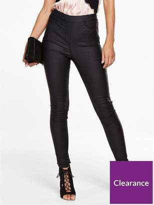 Very Petite Charley High Rise Side Zip Coated Jegging - Black
