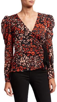 Astr Lissa Long-Sleeve Leopard-Print Top