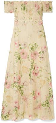 Zimmermann Iris Off-the-shoulder Floral-print Linen-blend Maxi Dress - Cream
