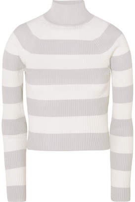 Zimmermann Whitewave Cropped Striped Ribbed-knit Sweater - Gray