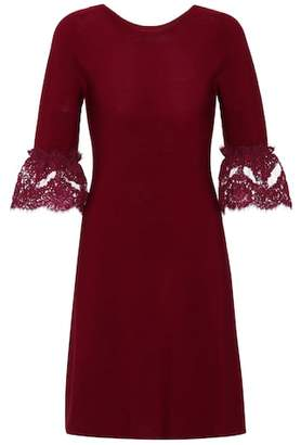 Oscar de la Renta Wool lace-trimmed dress