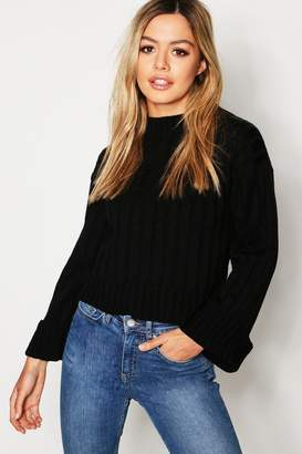 boohoo Petite Rib Knit High Neck Sweater