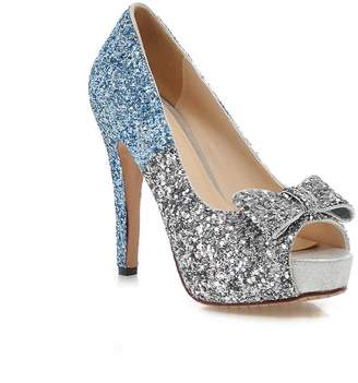 32fedad11dd3 KingRover Women s Mixed Colors Bowknot Sequin Fabric Platform Shoes Wedding  Party Pumps Shoes