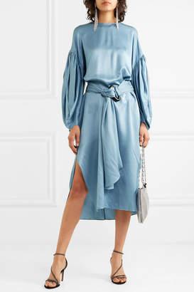 Nackiyé - Nightingale Silk And Wool-blend Satin Midi Dress - Blue