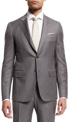 Isaia Super 140s Striped Two-Piece Suit, Light Gray $3,495 thestylecure.com