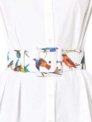 Carolina Herrera Bird-Print Buckled Belt